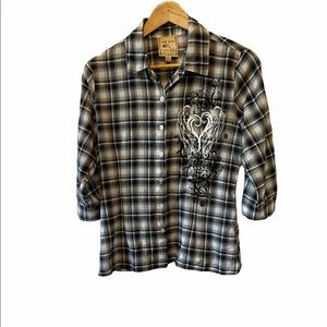 PINK ROSE Black,Grey&White Plaid Graphic Button Up